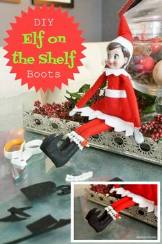DIY Elf on the Shelf Shoes : elf on the shelf Your children enjoy their elves on the shelf, and you All Things Christmas, Christmas Holidays, Christmas Crafts, Christmas Ideas, Merry Christmas, Elf On The Self, The Elf, Elf Boots, Elf Auf Dem Regal