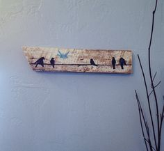 Birds on line Rustic Upcycled Barn wood Bird by ClearSkyDesigns, $17.00