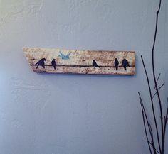 Birds on line~ Rustic Upcycled Barn wood Bird Wall Decor- Reclaimed Wood sign- Shabby chic Decor, Black & Blue Birds