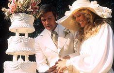 Farrah Fawcett & Lee Majors on their wedding day, 1973