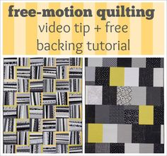 Free-motion quilting video tip + FREE quilt-backing tutorial
