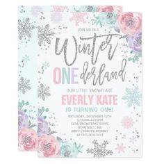 Shop Winter ONEderland Birthday Invitation Pink Silver created by PixelPerfectionParty. First Birthday Winter, Winter Birthday Parties, Girl First Birthday, Birthday Celebration, 1st Birthday Party Invitations, Pink Invitations, Birthday Ideas, Birthday Gifts, Paris Birthday