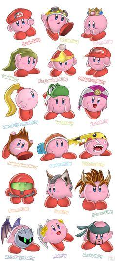 Kirby se transforma en personajes de vidiojuegos