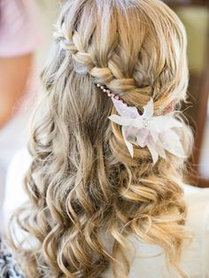 A POKER straight hairdo is amped up with a waterfall braid! Braided Hairstyles For Wedding, Pretty Hairstyles, Braid Hairstyles, Wedding Braids, Hairstyles Videos, Bridal Braids, Simple Hairstyles, Updo Hairstyle, Wedding Hair And Makeup