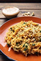Healthy spaghetti squash with delicious Thai peanut sauce. This recipe is gluten-free, vegan, and uses no refined sugar. Healthy spaghetti squash with delicious Thai peanut sauce. This recipe is gluten-free, vegan, and uses no refined sugar. Asian Recipes, Whole Food Recipes, Vegetarian Recipes, Cooking Recipes, Healthy Recipes, Dinner Recipes, Vegan Spaghetti Squash, Courge Spaghetti, Spagetti Squash Pad Thai