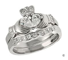 gorgeous claddagh ring set
