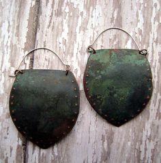 Large Tribal Shield Metalwork Earrings with mottled verdigris patina, dangle earrings by Anvil Artifacts