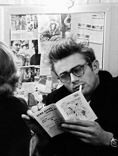 James Dean the Giant reading a comic book