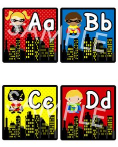Superhero Themed Classroom Pack:  also use as a guide for the cityscapes