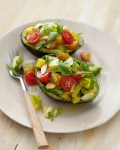 Avocado with bell pepper & tomatoes. Just omit the lime, or use less.