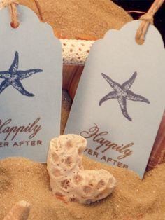 2014 starfish beach wedding tags, rustic string beach wedding tags.