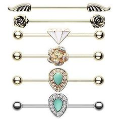 Industrial Barbell Cartilage Movable CZ Golden Avice Rose Blossom Gem Wings