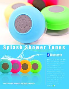 Splash Shower Tunes - Waterproof Remote Control Iphone, Smartphone Speaker (Waterproof)