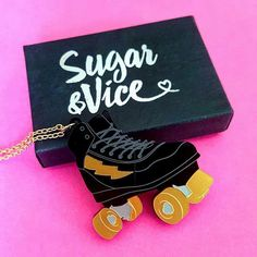 LOVE this awesome #rollerderby inspired necklace by @sugar_and_vice  #derby #rollerskates #skaters #awesome #jewellery #skates #derbygirl #derbyguy #Jammer #blocker by moxie_mcmurder