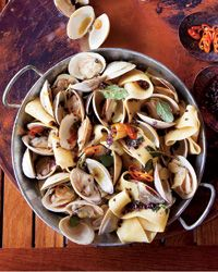 Great Grilled Eggplant: Cook Once, Eat Twice Pappardelle with Clams, Turmeric and Habaneros // More Tasty Clam Recipes: www. Clam Recipes, Seafood Pasta Recipes, Wine Recipes, Great Recipes, Cooking Recipes, Favorite Recipes, Cooking Blogs, Pepper Recipes, Food Blogs