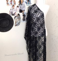 Knitted Poncho, Crochet Shawl, Crochet Lace, Bridal Shawl, Wedding Shawl, Black And White Scarf, Crochet Wedding, Lace Scarf, Crochet Fashion