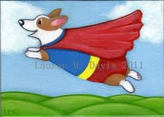 Original Lauren M. Davis Art, Super Pembroke Welsh Corgi Dog Painting (5x7 inch canvas board) SOLD in 2011