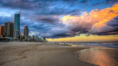 beautiful gold coast beach hdr - beach, people, clouds, sky, hdr, sea, city