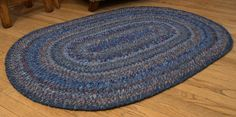 Hand Braided Rag Rug - Blue Summer Afternoon Patchwork Bohemian Braid Oval.  Studio at Red Top Ranch rugs are all handmade of natural fibers, one at a time, each completely unique.