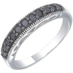 Sterling Silver Black Diamond Wedding Band (1/2 CT) In Size 7 by Vir Jewels http://blackdiamondgemstone.com/jewelry/sterling-silver-black-diamond-wedding-band-12-ct-in-size-7-com/