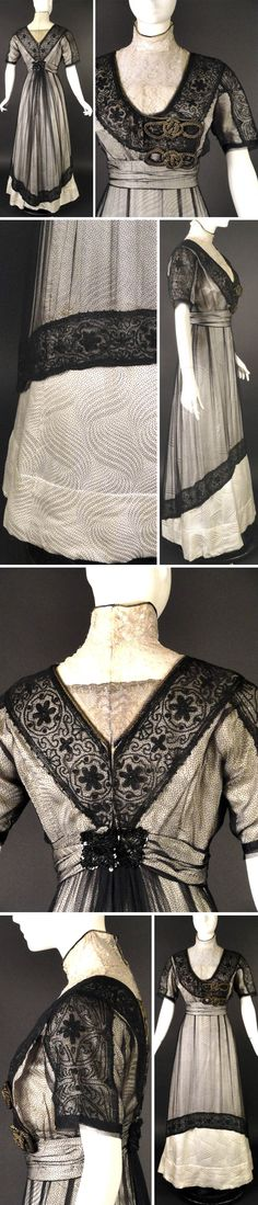 Evening gown, Elsa Winschester, New York, ca. 1912. Ivory swirl & polka dot silk brocade trimmed w/gold rope braid. Modesty of gold bullion lace. Boned bodice is dart-fitted and has ovulary of black silk chiffon trimmed w/gold bullion braid. Around neck, overlapping front, is black bugle-beaded motif that gives appearance of lace and is under chiffon. Cummerbund at natural waistline Gored skirt w/pleated chiffon overskirt w/beaded hemline. Bodice fully lined in ivory silk. Vintage Martini