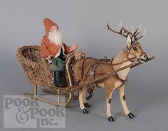 1900 German Composition Santa Claus in a Sleigh Merry Christmas To All, Antique Christmas, Vintage Christmas Ornaments, Vintage Holiday, Beautiful Christmas, Christmas Holidays, Christmas Decorations, Primitive Santa, Primitive Christmas