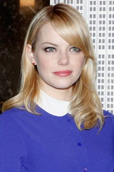 Emma Stone Medium Wavy Cut with Bangs