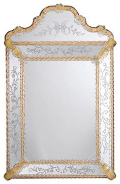 Venetian Mirror with Scalloped Top traditional-bathroom-mirrors