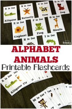 These printable Alphabet Animals flashcards are a fun way to help children practice letter recognition and learn about animals! - Kids education and learning acts Flashcards For Kids, Printable Flashcards, Printable Alphabet, Teaching The Alphabet, Learning Letters, Homeschool Kindergarten, Preschool Learning, Homeschooling, Zoo Phonics