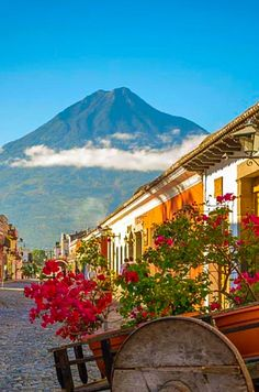 The Water Volcano overlooking the city of Antigua in Guatemala.