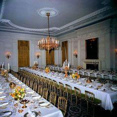 Rare photo of the Kennedy State Dinner setting without round tables - February 1962.