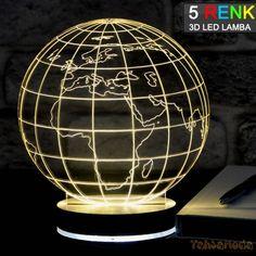 Tahtamoda 3D 3 Boyutlu Dekoratif Led Lamba Dünya - tht3d020