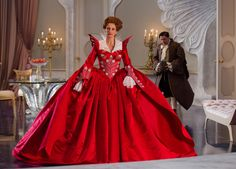 Julia Roberts' Red and White Peacock Ball Gown - Mirror Mirror