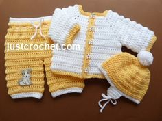 Free PDF baby crochet pattern http://www.justcrochet.com/jacket-pants-helmet-usa.html #justcrochet