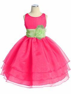 Fuchsia Three Layer Organza Dress. Flowergirl dress?