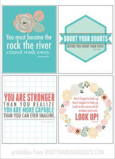 (4) 8x10 printable inspirational quotes from Thirty Handmade Days