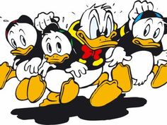 """""""Oei, oei, de neefjes zijn niet zo braaf geweest!"""" Donald duck: """"Ze hebben van de koekjestrommel gesnoept!"""""""