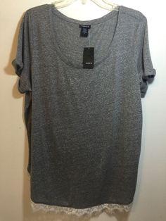 cd4e008d174 Torrid Womens Plus Size 2 2x 18 20 Grey Gray 4k Hacci Lace Trim Tee Shirt