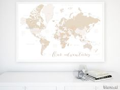 This Artwork Features The World Map In Your Chosen Color Combination Country Names Us States Names Australian States Names Canadian Provinces Names