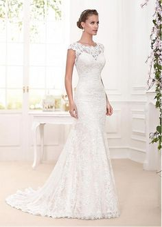 Charming Tulle & Lace Scoop Neckline Mermaid Wedding Dresses With Lace Appliques