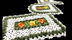 """Jogo de banheiro de Crochê com Flores """"Meu Jardim"""""""
