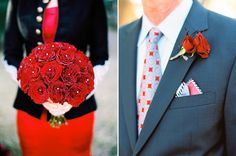 Gotta love traditional and classic red rose bouquets! Floral design by Kari Shelton red wedding, red dress polka dot, Texas Hill country wedding
