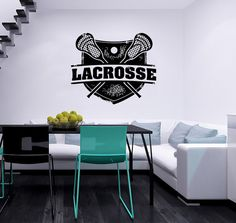 Lacrosse Sport Stamp Logo Emblem Vinyl Decal by SuperVinylDecal