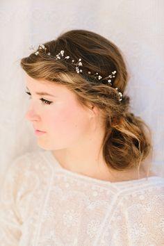 Fiona Bridal Headband, Pearl and Swarovski Crystal Halo, Tiara, Crown, Wedding Headband, Bridal Hair Piece, Ships in 1 Month