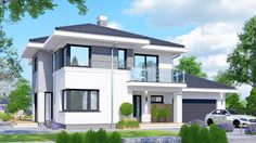 Projekt domu APS 274 + 2G 170,10 m² - koszt budowy - EXTRADOM House Layout Plans, House Layouts, 2 Storey House Design, Modern Farmhouse Plans, Big Windows, Facade House, House Front, Home Fashion, Exterior Design