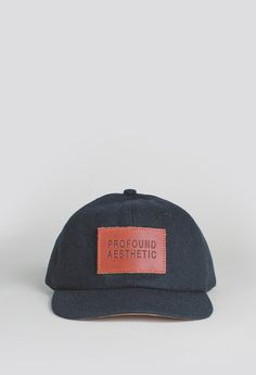 Profound Aesthetic Wool Monogram Six Panel Hat in Navy  http://profoundco.com/collections/hats/products/wool-monogram-six-panel-hat-navy