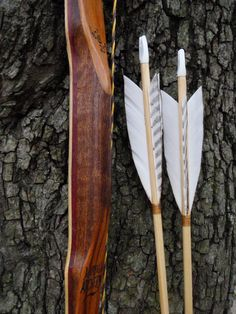 "Canarywood, Purpleheart and Bamboo bow with Mahogany burl handle, 40lb at 25"", wood archery bow, comes with arrows"