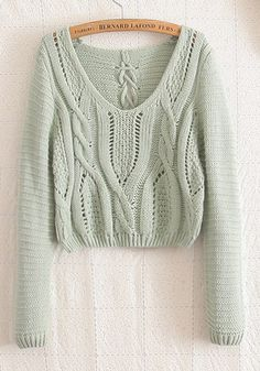 Green Plain Hollow-out Long Sleeve Wool Blend Sweater