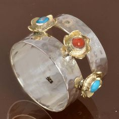 925 SOLID STERLING SILVER DESIGNER Turquoise & Coral RING 5.05g DJR10022…