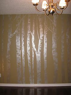 metallic, textured tree mural